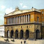 Litografia colorata eseguita da Raffaele D'Ambra della facciata del Teatro San Carlo di Napoli, 1889 (Istituto di archeologia e storia dell'arte)