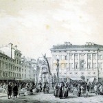 La Piazza Grande a Trieste, litografia di Marco Moro, 1854 (Biblioteca nazionale Braidense)