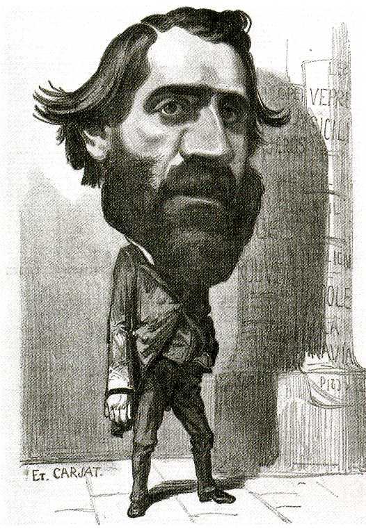 Etienne Carjat, caricatura di Giuseppe Verdi, 1856-1857