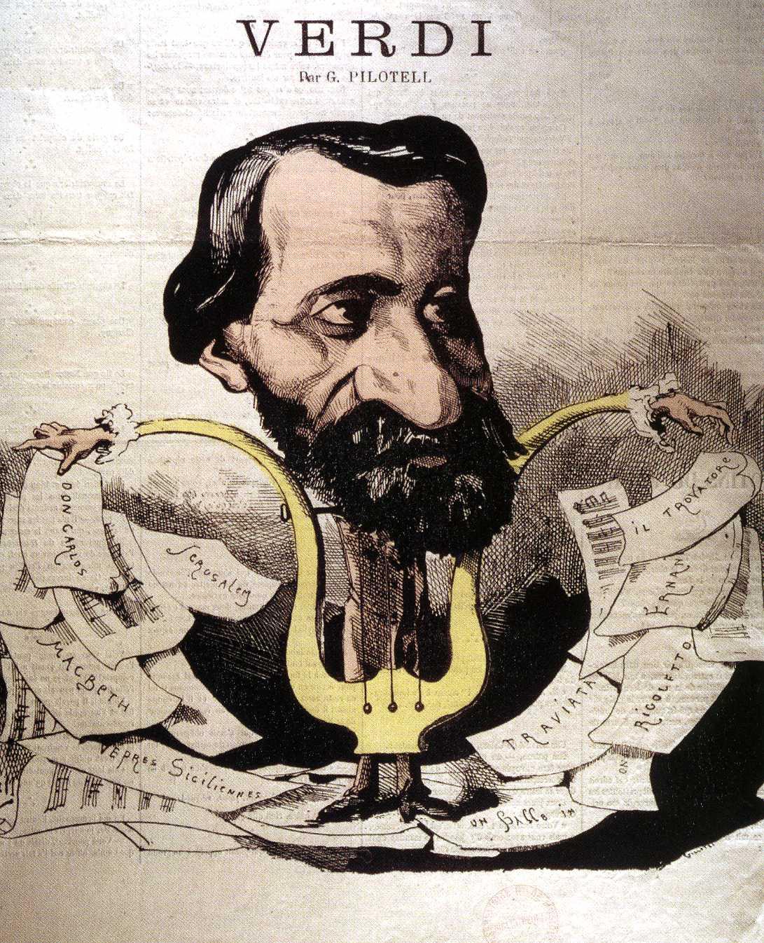 Georges Labadie Pilotell, caricatura di Verdi, 1865 ca