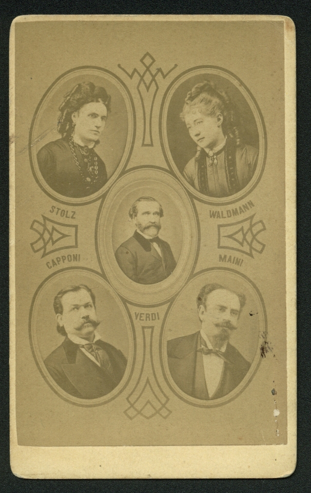 Fotocomposizione con le immagini di Verdi e dei primi cantanti della Messa da requiem, sec. XIX