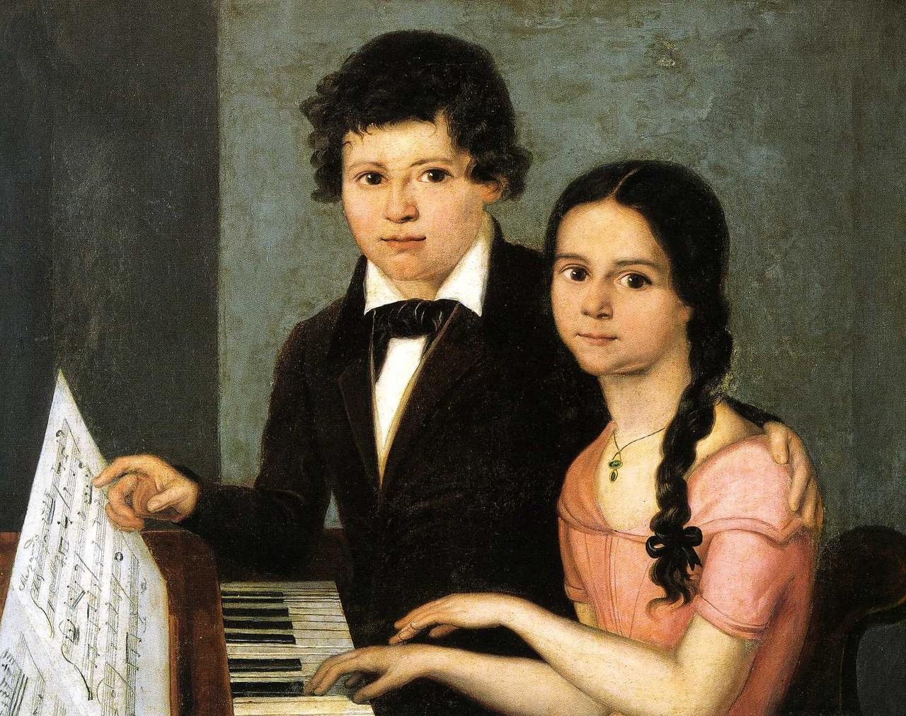 Francesco Podesti, Giuseppe Verdi adolescente con la marchesina Zaccaria, sec. XIX